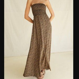 Leopard Smocked-Bodice Maxi Dress
